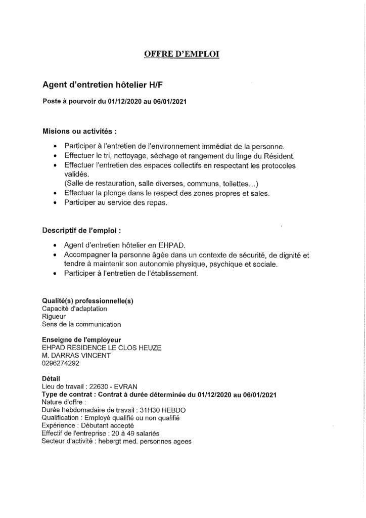offre d'emploi EHPAD Evran